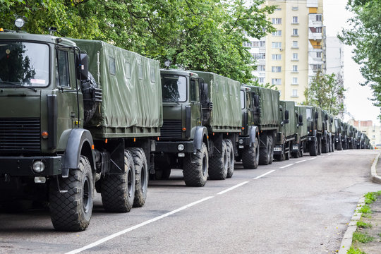 A column of military trucks. Independence Day, parade Minsk, Belarus