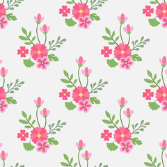 Seamless pattern flowers and leaves.