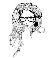 Vector Sketch. Beauty girl face on a white background