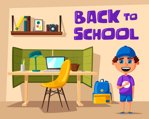 Schoolboy learns lessons at home. Cartoon vector illustration