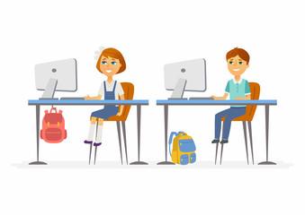 Computer studies - junior school children at the PCs