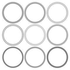 Round rope frames collection on white background
