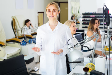 manicurist showing her workplace