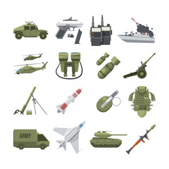 Icon set of different army weapons. Military and police equipment. Vector pictures in flat style