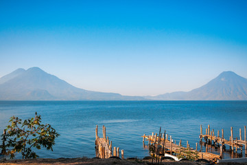 Volcanos view from the docks at lake Atitlan in Guatemala.