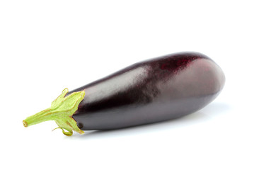 Fresh homemade eggplant vertically isolated.