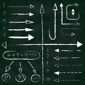 Set of chalk arrows and symbols. Hand drawn illustration. Chalkboard background.