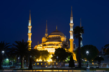 Turkey, Blue mosque (Sultan Ahmed Mosque)in Istanbul in the night