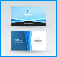Double-sided horizontal business card template. Vector mockup illustration. Stationery design