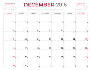 December 2018. Calendar planner design template. Week starts on Sunday. Stationery design