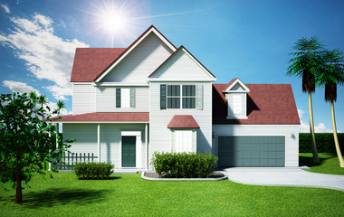 Luxurious modern house. 3D illustration