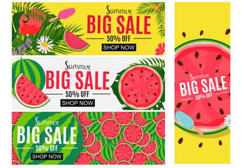 Summer Sale Abstract Banner Background Collection Set Vector Illustration
