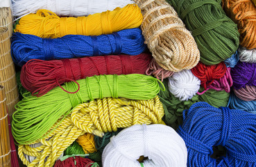 Close up of colorful nylon rope roll, in red, yellow, blue, green