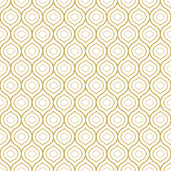 Seamless geometric oriental style vector pattern in gold