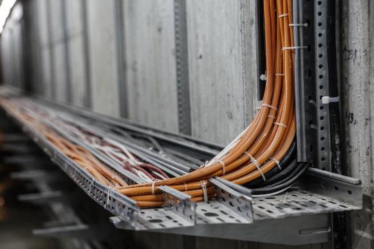 Fibre Optic Network Cables. Fibre channel optical network cables on rails