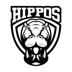 HIPPOPOTAMUS VECTOR LOGO ILLUSTRATION