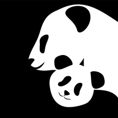 Panda bear silhouettes mother and baby vector illustration