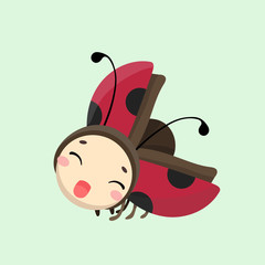 Cute Ladybug vector illustration in flat style.