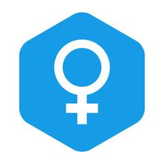 Icono plano femenino en hexagono azul