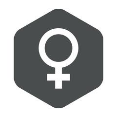 Icono plano femenino en hexagono gris