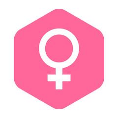 Icono plano femenino en hexagono rosa