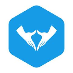 Icono plano feminismo en hexagono azul