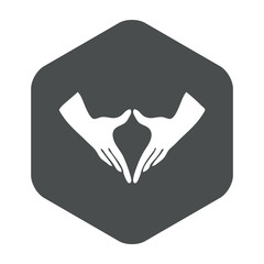Icono plano feminismo en hexagono gris