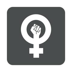 Icono plano feminista en cuadrado gris