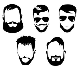 black and white portraits of faces men with beard, bearded man