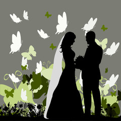 silhouette of the bride and groom on a colorful background with butterflies, love, wedding card
