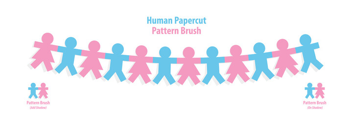 Human papercut pattern brush illustration vector on white background. Teamwork concept.
