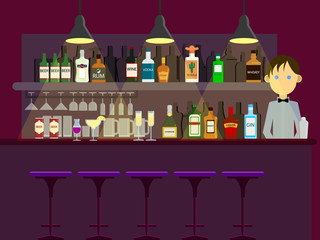 Bar pub night club interior and man bartender vector illustration. Flat style design. Colorful graphics