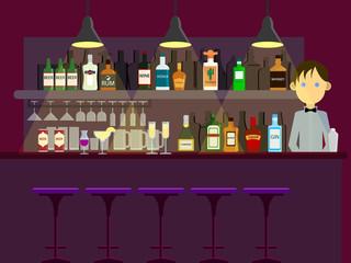 Bar pub night club interior and man bartender vector illustration. Flat style design. Colorful graphics