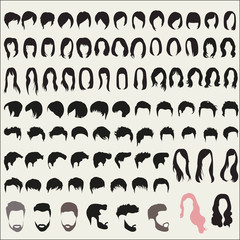Large set of hairstyles for men and women