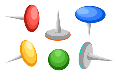 Collection of various push pins. Thumbtacks. Top view. Vector illustration. Isolated on white background. Set. Front view. Top view. Close up. Web site page and mobile app design vector illustration.