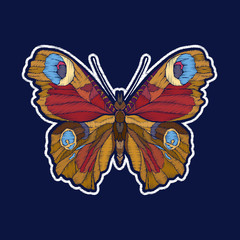 Butterfly. Embroidery. fachion patch badges Vector illustration