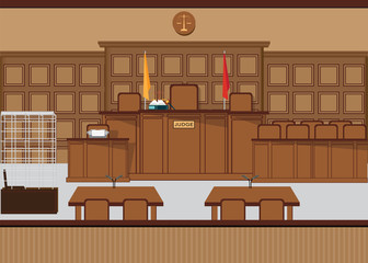 Court of law hall with wooden furniture.