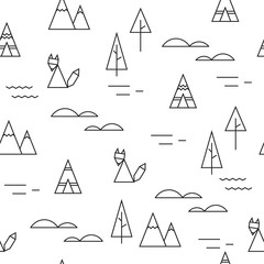 Fox in the forest seamless vector black and white pattern