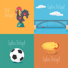 Portuguese symbol Barcelos rooster, football, bridge Dom Luis vector illustrations