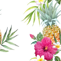 Watercolor tropical vector pattern