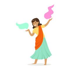 Beautiful Indian woman in a sari dancing national dance, colorful character vector Illustration