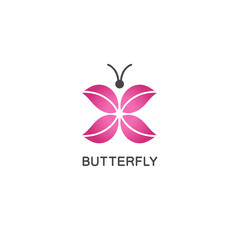 Vector logo design template in flat linear style - abstract butterfly with pink wings.