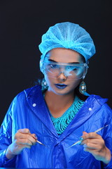 Chemistry Asian Doctor Woman with Fashion Make up fancy lab test dress