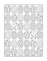 Coloring page for adults (children ok, too) with painted eggs and chicks, or monochrome decorative background.