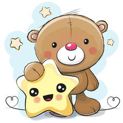 Cute Cartoon Teddy Bear with star