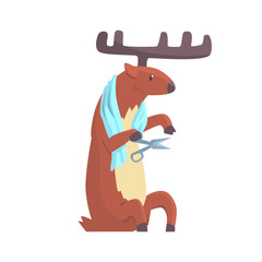 Cute cartoon deer cutting his nails colorful character, animal grooming vector Illustration