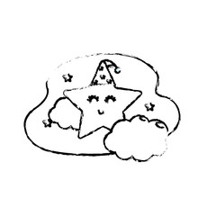 figure cute star with cloud in the sky design