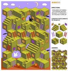 Autumn or Halloween themed 3d maze game: Using stairs and ladders try to find the way from the point 1 to the point 2. Do not jump or climb up! Answer included.