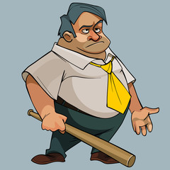 Cartoon fat man in a tie with a bat in his hand