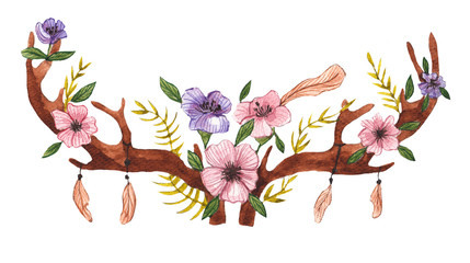 Horns and flowers in boho style. Watercolor illustration on white isolated background